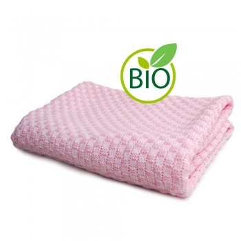 Knitted Cotton Blanket - Pink