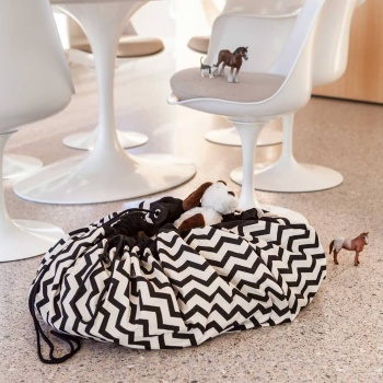Toy Storage Bag ZigZag - black