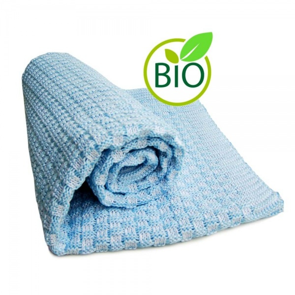 Knitted Cotton Blanket - Blue